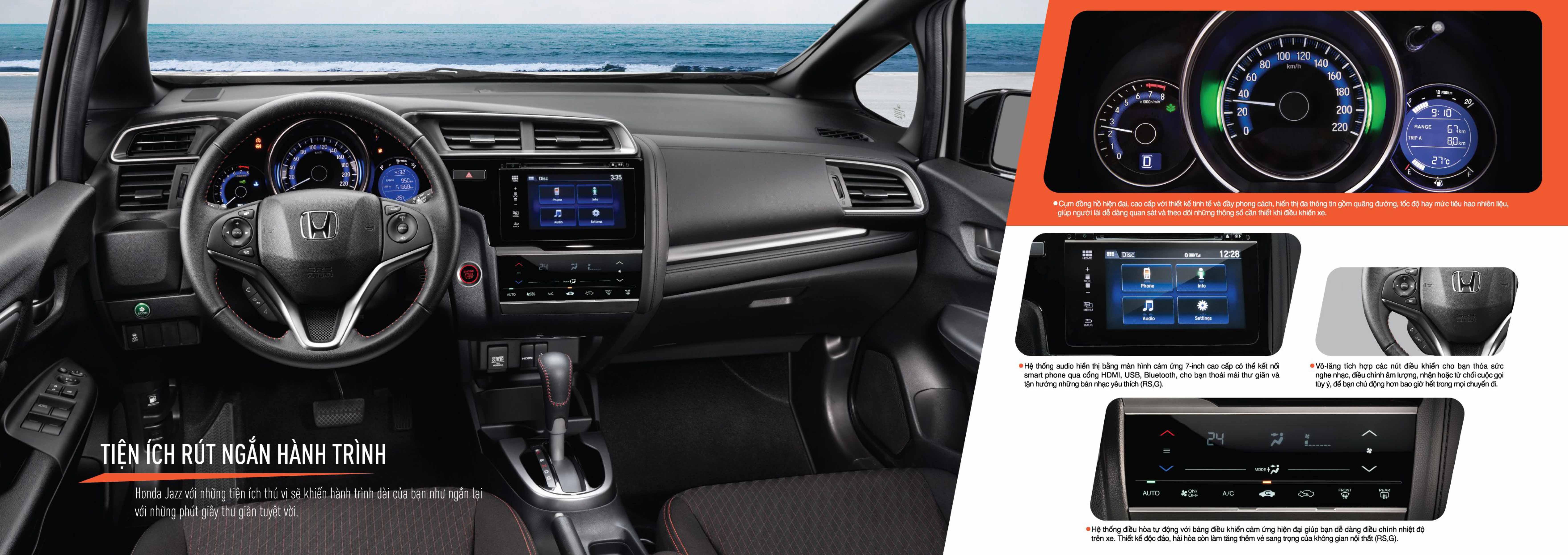Honda Jazz Cần Thơ - Bảng điều khiển trung tâm