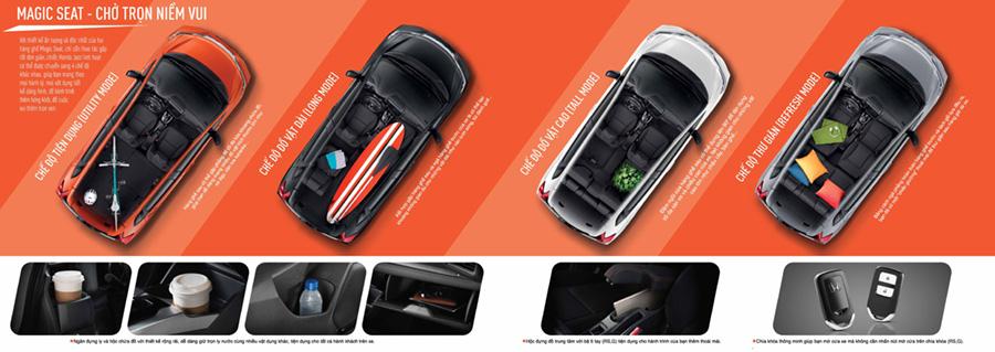 Honda Jazz Cần Thơ - Nội thất tiện lợi với ghế ngồi gập